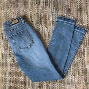 2/$50 EARL slim tapered cropped raw hem denim jean